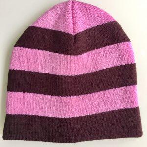Beanie Hat Pink/Brown